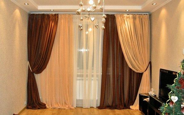 Дизайн портьер для гостиной фото